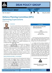 Defence Planning Committee (DPC): Optimising Expectations