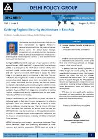 Evolving Regional Security Architecture in East Asia