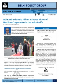 India and Indonesia Affirm a Shared Vision of Maritime Cooperation in the Indo-Pacific