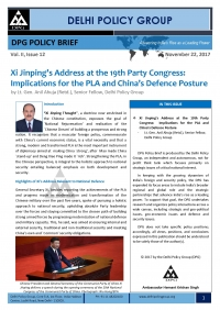 Xi Jinping's Address at the 19th Party Congress: Implications for the PLA and China's Defence Posture