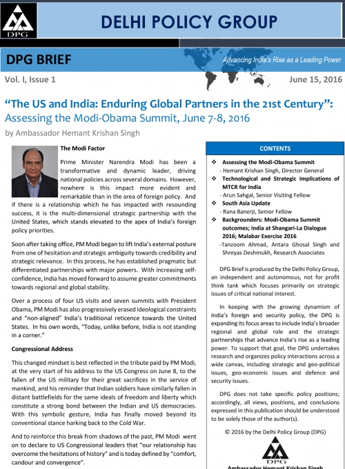 DPG BRIEF: Vol. I, Issue 1: Assessing the Modi-Obama Summit