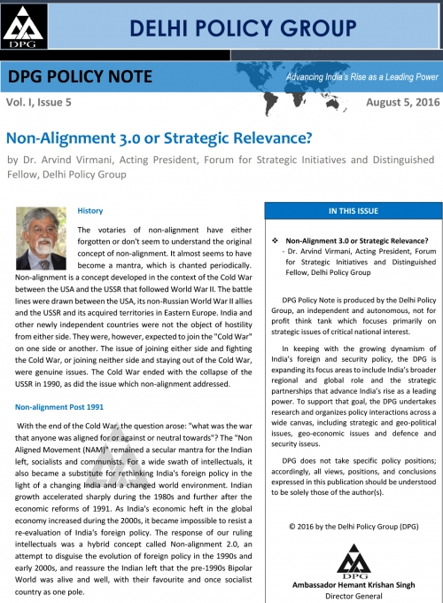 DPG Policy Note Vol. I, No. 5: Non-Alignment 3.0 or Strategic Relevance?