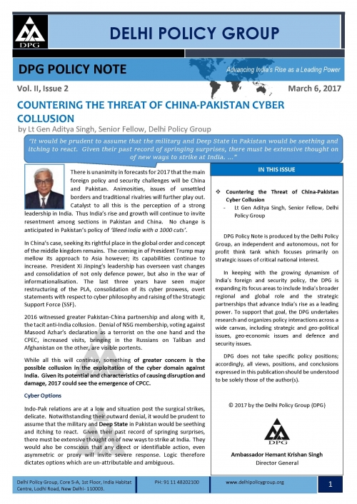 DPG Policy Note Vol. II, Issue 2: COUNTERING THE THREAT OF CHINA-PAKISTAN CYBER COLLUSION