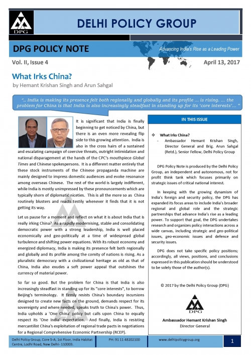 DPG Policy Note Vol. II, Issue 4: What Irks China?