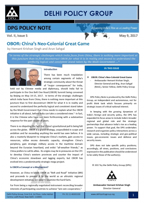DPG Policy Note Vol. II, Issue 5: OBOR: China's Neo-Colonial Great Game