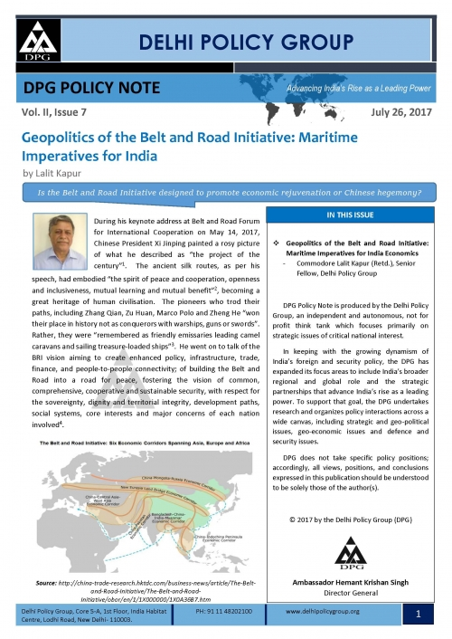 DPG Policy Note Vol. II, Issue 7: Geopolitics of the Belt and Road Initiative: Maritime Imperatives for India