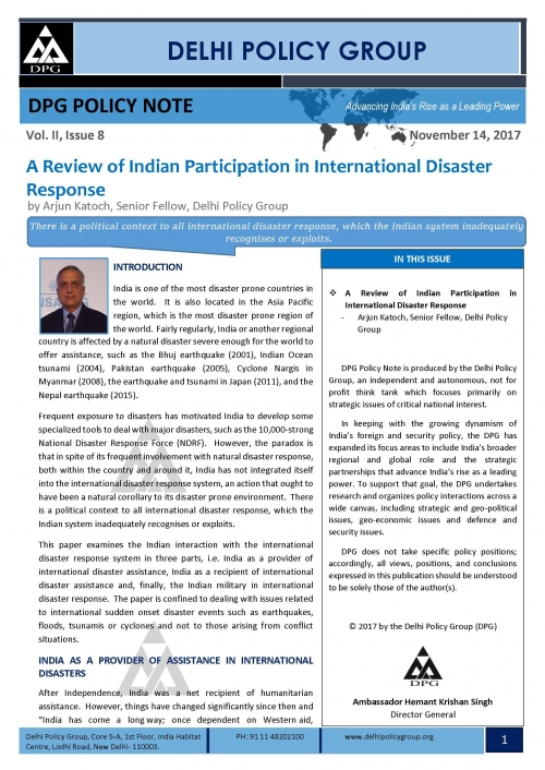 DPG Policy Note Vol. II, Issue 8:  A Review of Indian Participation in International Disaster Response