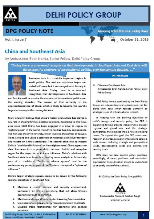 DPG Policy Note: Vol.I, Issue 7: China and Southeast Asia