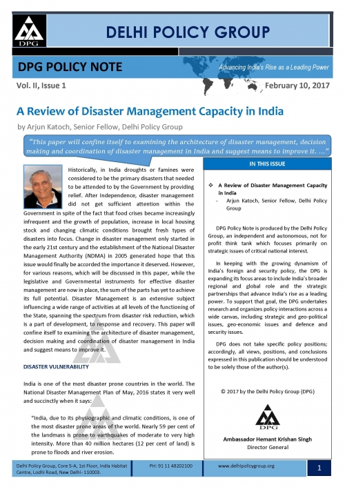 DPG Policy Note: Vol.II, Issue 1: A Review of Disaster Management Capacity in India