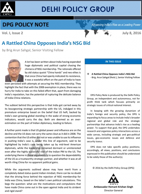 DPG Policy Note Volume 1, Issue 2 : A Rattled China Opposes India