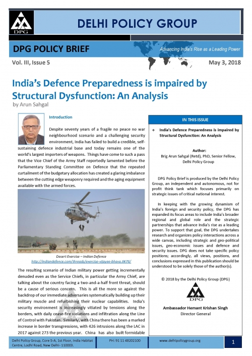 India's Defence Preparedness is impaired by Structural Dysfunction: An Analysis