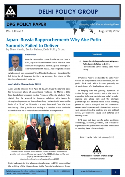 Japan-Russia Rapprochement: Why Abe-Putin Summits Failed to Deliver