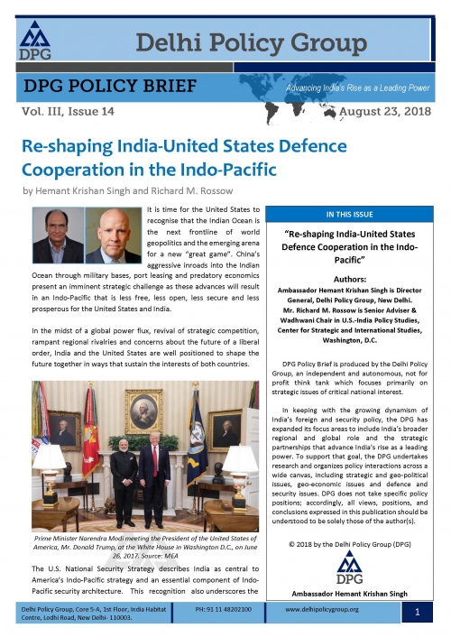 Re-shaping India-United States Defence Cooperation in the Indo-Pacific