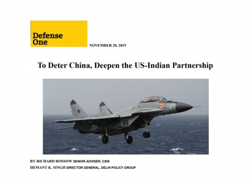 To Deter China, Deepen the US-Indian Partnership